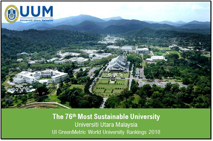 UUM SOARS SEVEN RUNGS UP THE UI GREENMETRIC WORLD UNIVERSITY RANKINGS 2018